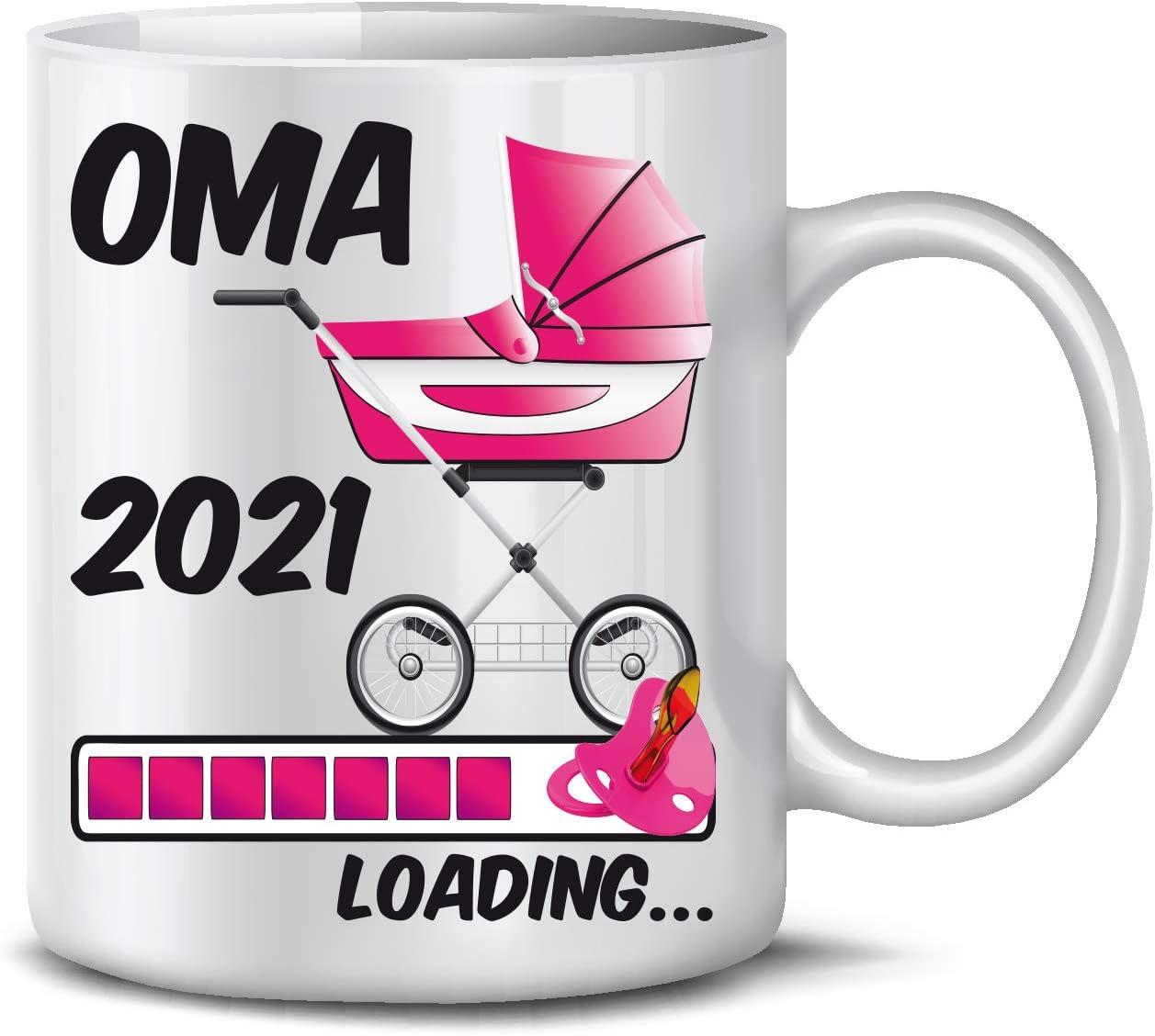 Rosa Baby beidseitig Bedruckt Mama Loading 2021 Geschenk Tasse TassenTicker Schwangere Kaffeetasse Geschenk werdende Mutter
