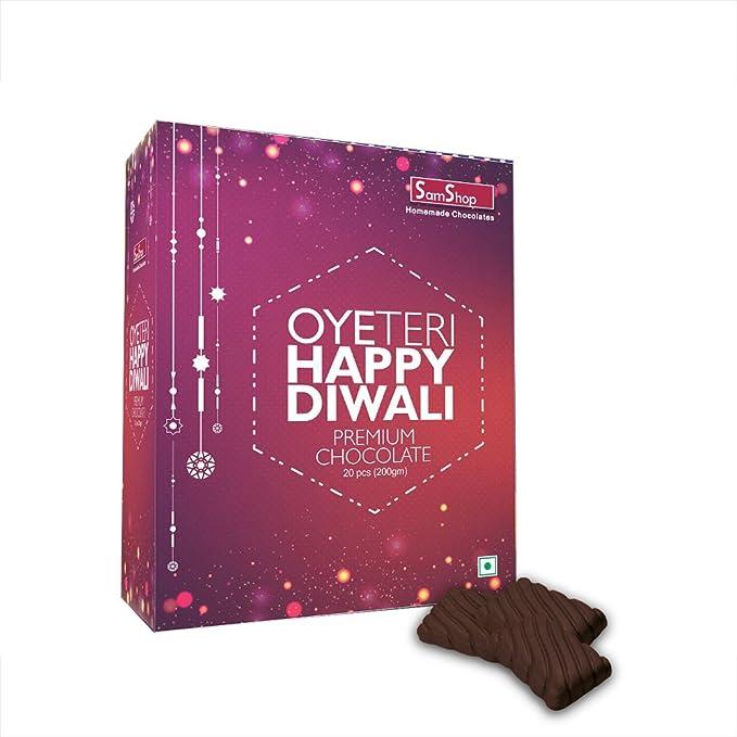 SamShop - Homemade Dark Chocolate 20 pcs 200 gms Happy Diwali