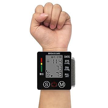 BROADCARE Tensiómetro de Muñeca Eléctrico Monitor Digital de Presión Arterial Pantalla LCD para Lectura Fácil Función de Memoria Fino Ligero Uso ...