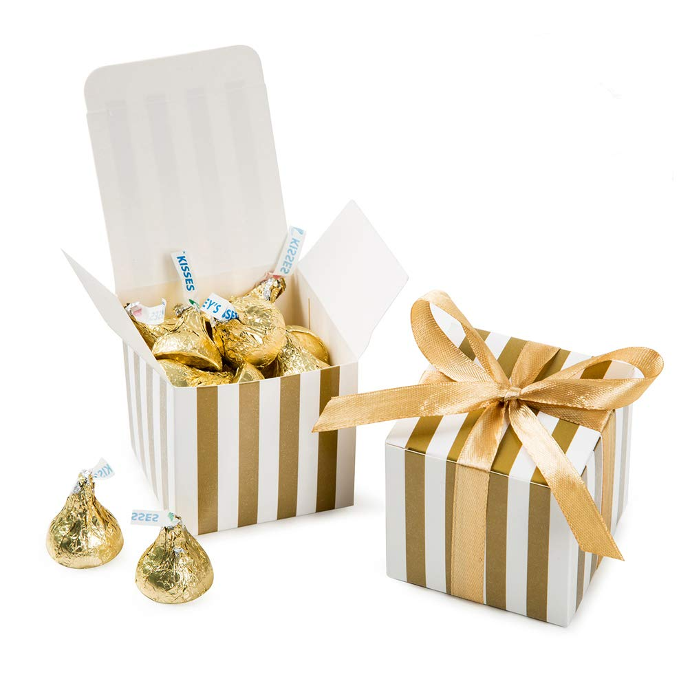 AWELL Small Candy Box Bulk 2x2x2 inch with Ribbon, Gold White Strips Box Party Favors Pack of 50 by AWELL