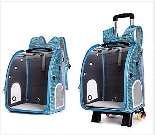 KNFBOK Mochila transportin Gato Mochila portátil con Ruedas para Mascotas Bolsa 4 en 1 con Carretilla y asa telescópica Bolsa de Equipaje con Ruedas para Cochecito portátil Gato Cachorro Porta: Amazon.es: Productos