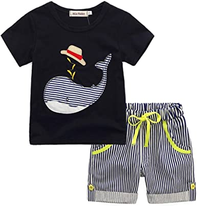 Moonuy New Summer Toddler Kids Baby Boy Cartoon T-shirt Top+Striped Short Pants Outfit Clothes Set Holiday for ages in children Stylish and fashion design Age 2-7 Years