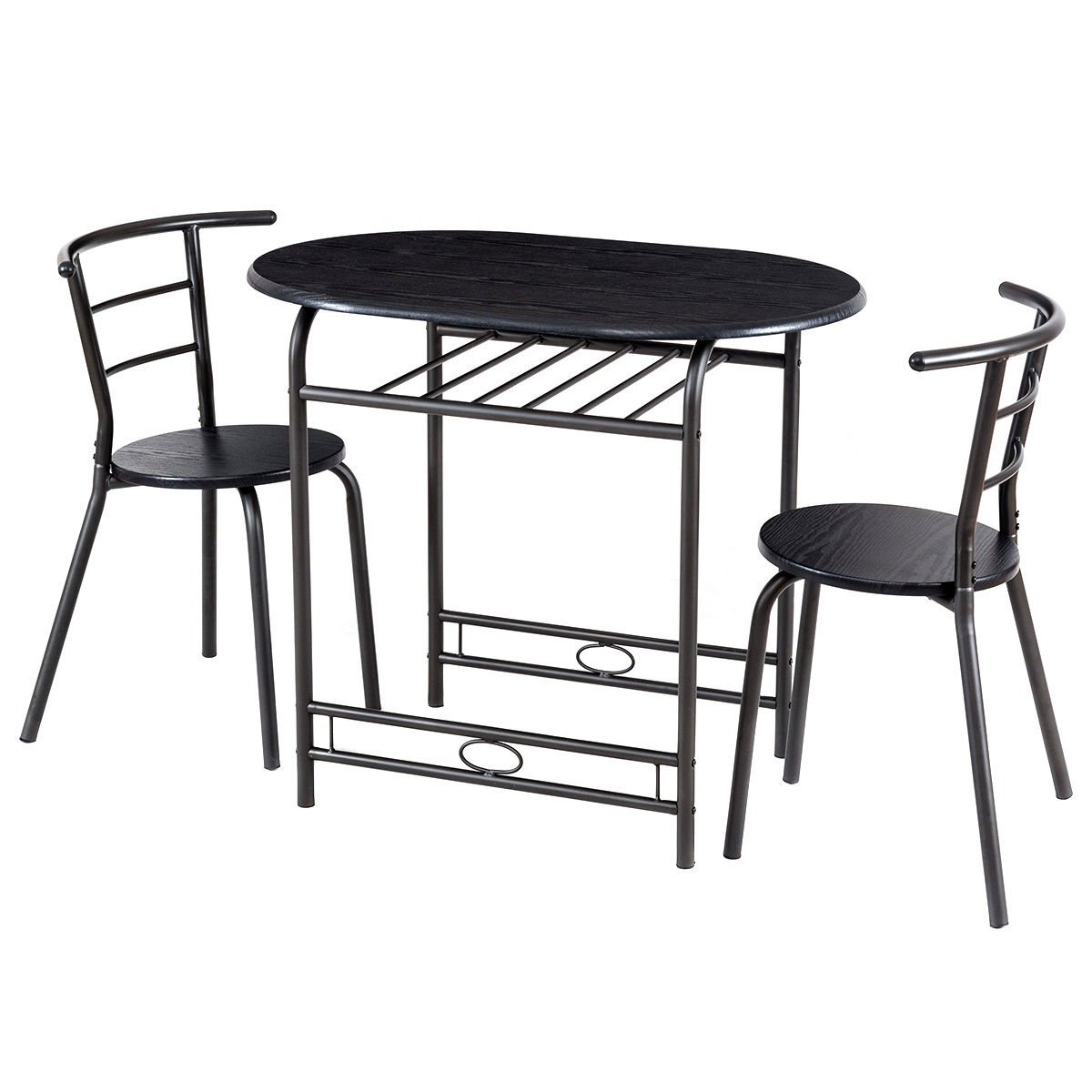 Dining Set Table and 2 Chairs Home Kitchen Breakfast Bistro Pub Furniture Black
