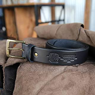 product image for No. 202 Fine Leather Belt in Black – Personalized Custom Belt – with Secret Message – Square Brass Buckle