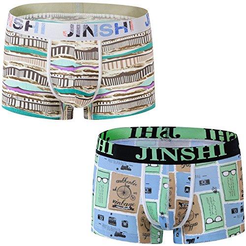 JINSHI Men Boxer Briefs Underwear Low Rise 2-Pack XXL