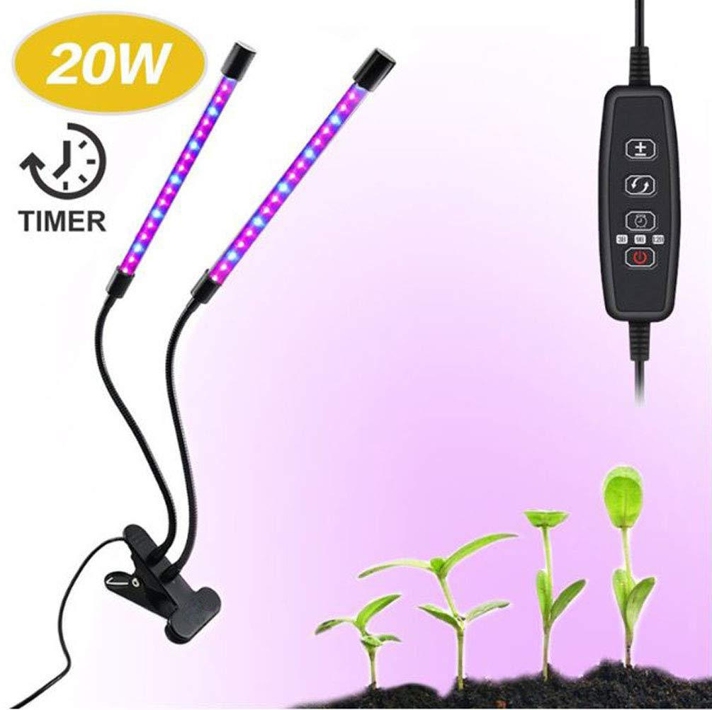 20W LED Grow Light with 40 Red Blue Spectrum LEDs, Adjustable Dual Head Timing Growing Lamp, 9 Dimmable Levels, 3 9 12H Timer 20W