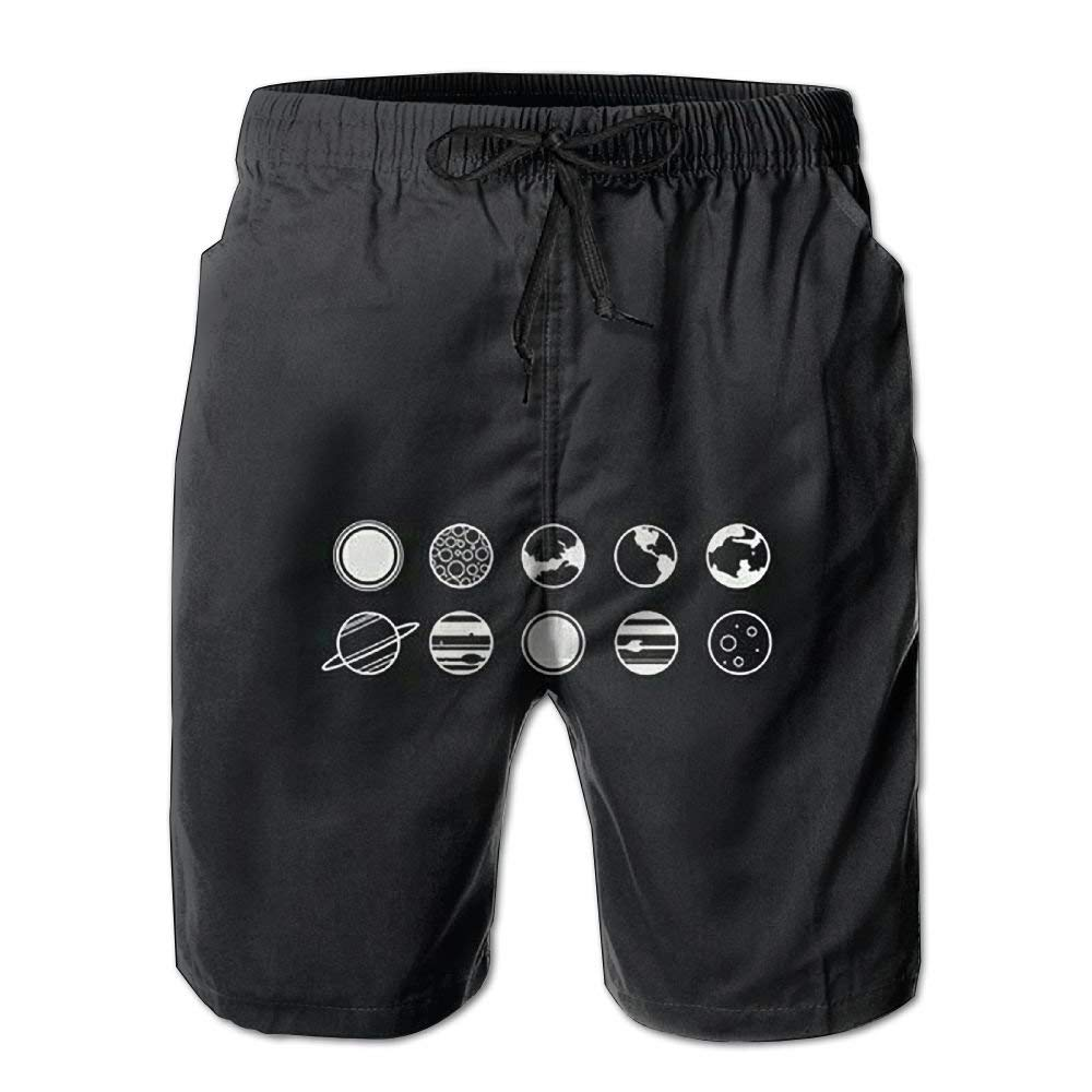 WZnWei Space Stars Black White Athletic Mens Shorts Beach Swim Trunk Summer