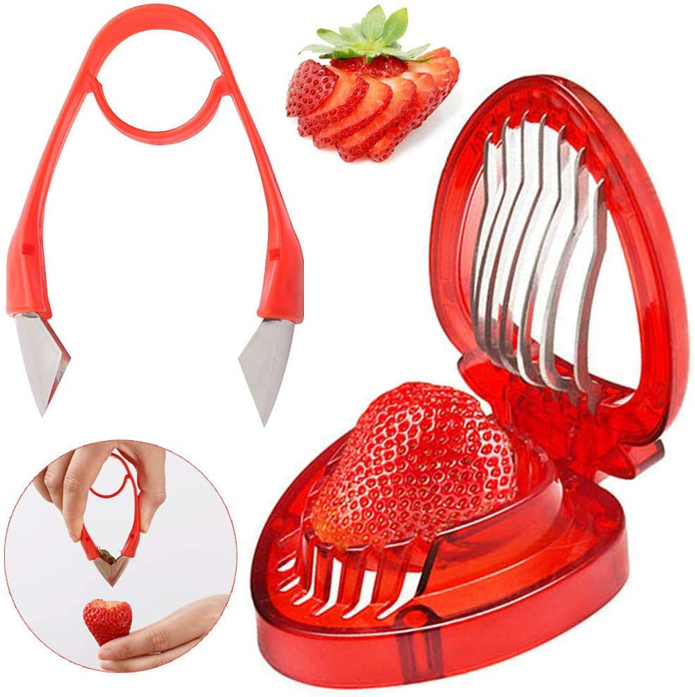 Strawberry stem remover Slicer Set Kitchen Accessories Potatoes Pineapples Carrots Tomato Corer Gadgets Kitchen Tool Mini Slicer Cut Stainless Steel Blade Craft Fruit Tools 2pcs