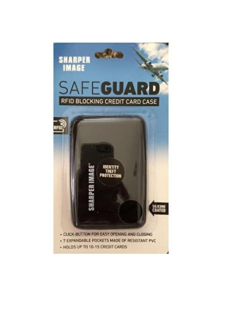 new product 8361f 43b48 RFID SAFEGUARD BLOCKING CREDIT CARD CASE | Sharper Image | ID Protection |  Black