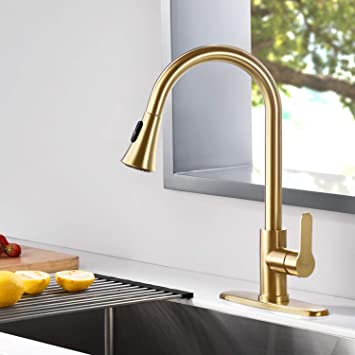 Amazing Force Gold Kitchen Faucet Modern Pull Out Kitchen Faucets Stainless Steel Single Handle Kitchen Sink Faucet With Pull Down Sprayer 3 Hole Kitchen Faucet Mixer Tap Amazon Com