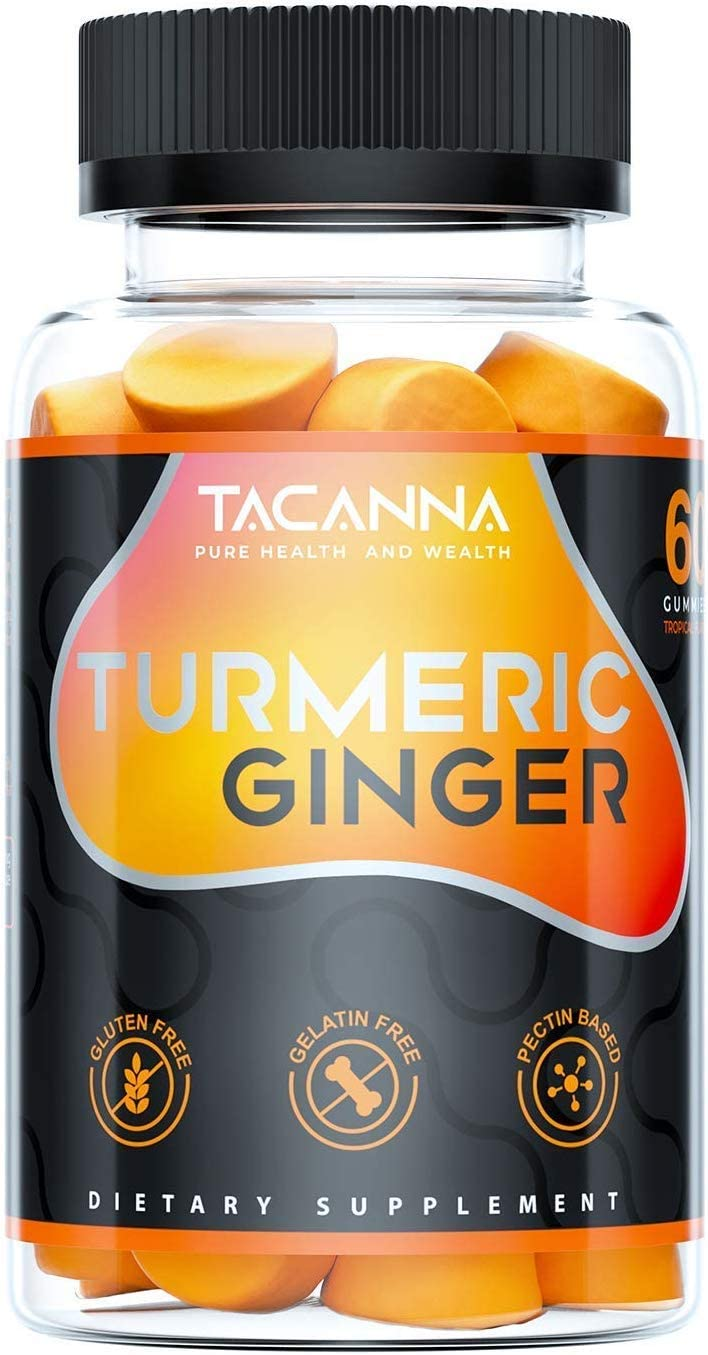 Tacanna Turmeric Ginger Gummies – Curcumin Joint Support – Pain Relief, Antioxidant, Anti-inflammatory. All Natural Factors Chewable Ginger, Turmeric Chews for Adults Kids, Curcumin 60 Count