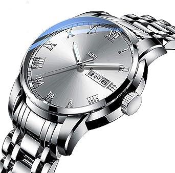 Steel Belt Watch, Caja de Acero Inoxidable con Reloj de Hombre Redondo con Movimiento de Cuarzo, Reloj no mecánico, cronómetro y funcionalidad de Temporizador. (Color : E): Amazon.es: Relojes