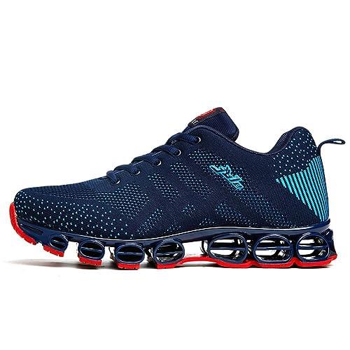online store f85a5 5103c Chaussure de Sport Homme Sneakers Textile Course entraînement Running  Antichoc antidérapant Confortable Bleu foncé 39 (