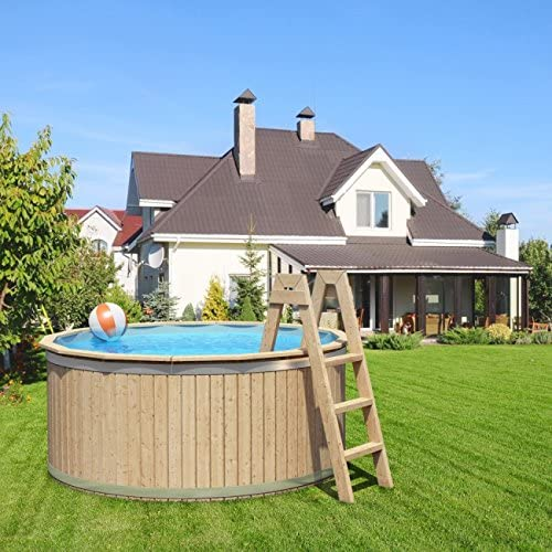 animalmarketonline Jardín Herramientas piscinas y accesorios piscina (madera maciza de Carl con lamina para piscina y escalera de madera maciza 240 x 107 cm: Amazon.es: Jardín