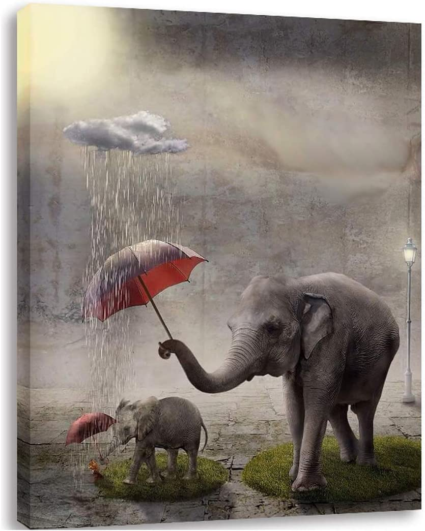 """AGCary Elephants Hold Umbrellas for Baby Elephants Poster Wall Decor Print Oil Paintings Canvas Home Decor Wooden Framed Stretched Prints on Canvas Reproduction Ready to Hang 16"""" x 12"""""""