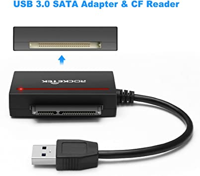 Rocketek - Adaptador de lector de tarjetas USB 3.0 a SATA y CF ...