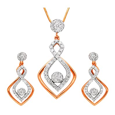 3ec68fbbaa7c1 Buy Manubhai Jewellers 18KT Rose Gold and Diamond Jewellery Set for ...