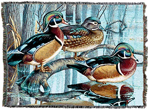 Pure Country Weavers | Backwater Woodies Wood Duck Decor Blanket | Woven Tapestry Throw Blanket Cotton with Fringe Cotton USA 72x54
