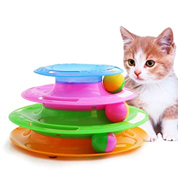 Torre de pista de pelota de gato, tres palancas Torre interactiva para juguetes inteligentes entretenimiento