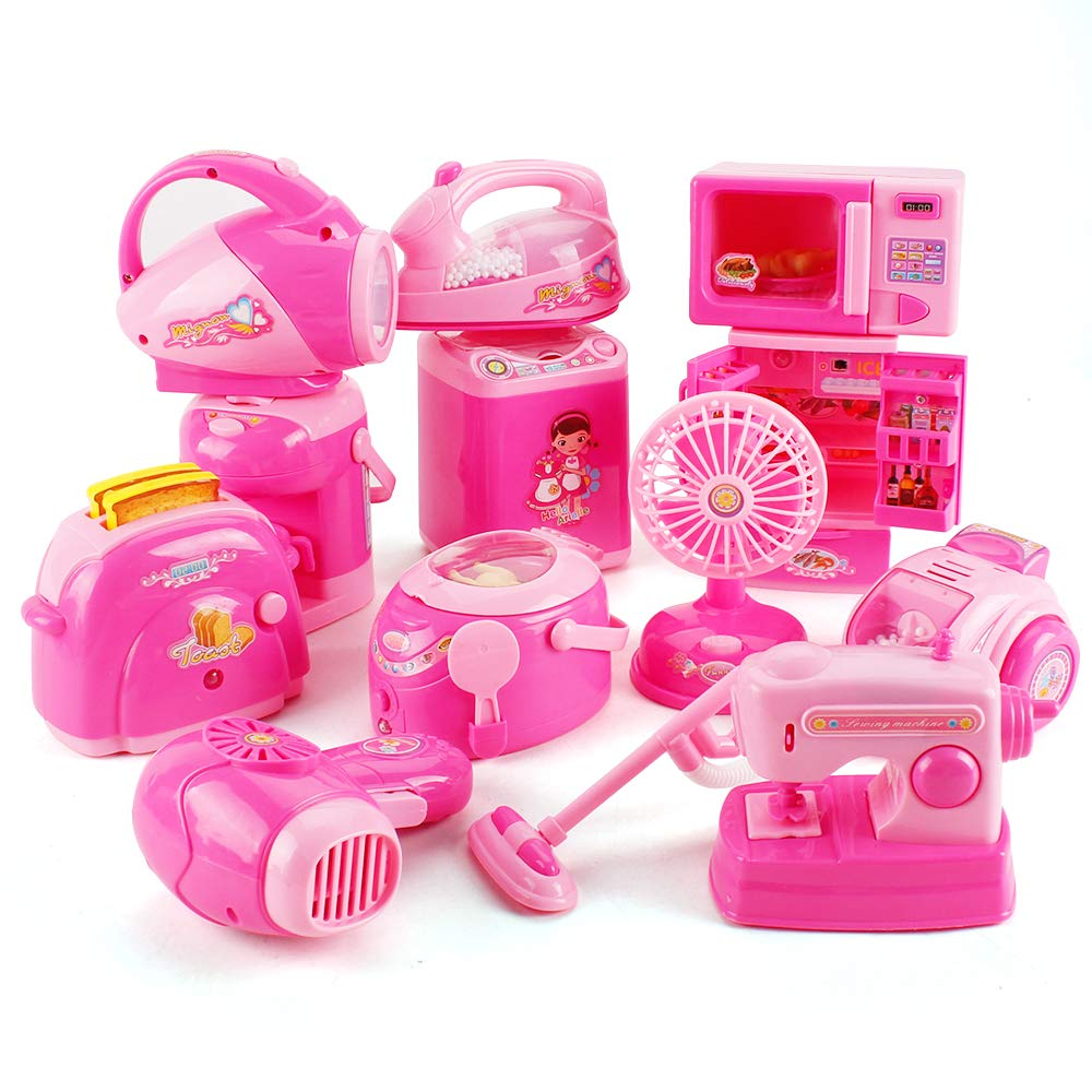Fantarea 12 PCS Mini Small Children Pretend Kitchen Appliances Toy Kitchen Accessories Kids Kitchen Accessories Play Home Appliances Simulate Housework Toys Set for Girl by Fantarea