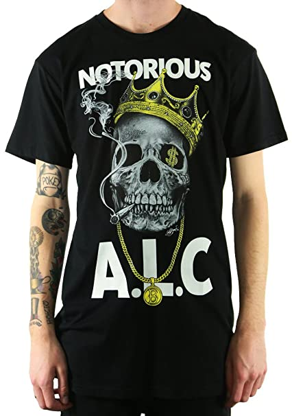 d4a7ea9d9f0a0a Amazon.com: ALC APPAREL Men's Notorious Slim-Fit T-Shirt Black L ...