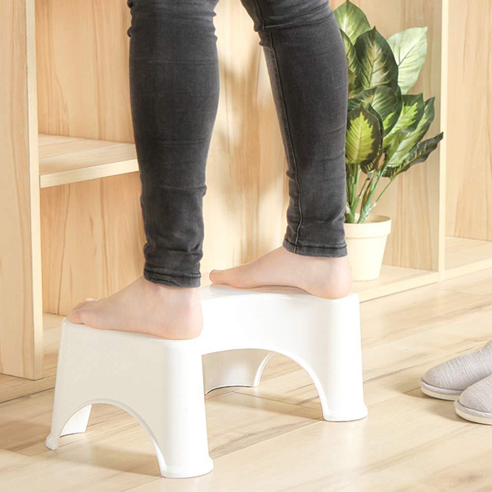 Pad Feet Stool Toilet Ottomans Bathroom Plastic Anti-Slip Squat Stool Squat Aid Supplies 1Pcs White Creative and Useful