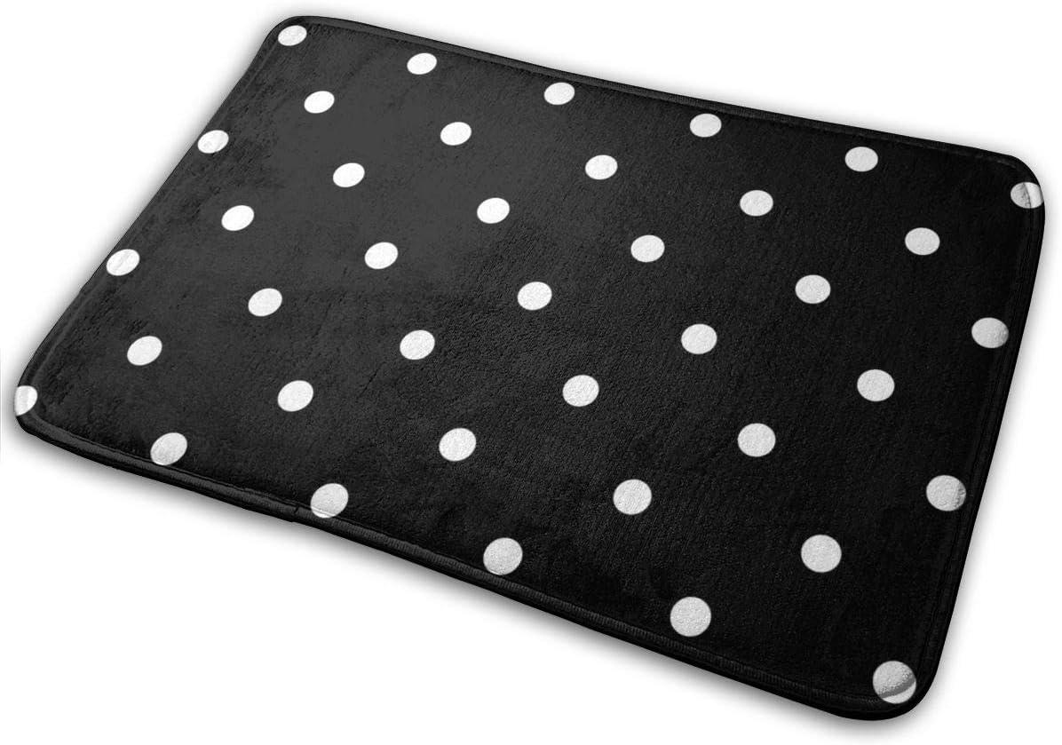 Isabelle & Emilie Polka Dots - Black and White Bath Mat Non Slip Absorbent Super Cozy Velvet Bathroom Rug Carpet 15.75x23.62 Inches.