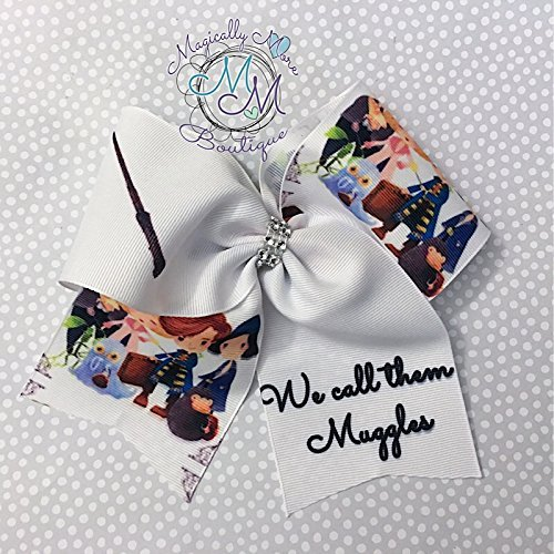 Muggle world Harry potter inspired Fantastic Beast unique large hair bow in cheer style. Light up wand by Magically More