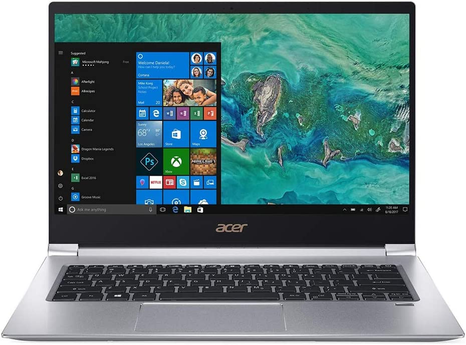 """Acer Swift Thin and Light Business Laptop, 14"""" FHD, Core i7-8565U, GeForce MX150 Graphics, Quad-Core up tp 4.60 GHz, 8GB RAM, 256GB SSD, Backlit, USB-C, FP Reader, 1920x1080, Win 10"""
