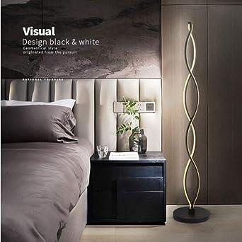ELINKUME Lámparas de Pie Negro Twist Wave Diseño Moderno Iluminación Interior LED Regulable en Interiores 30W Botón Regulable Perfecto para Sala ...