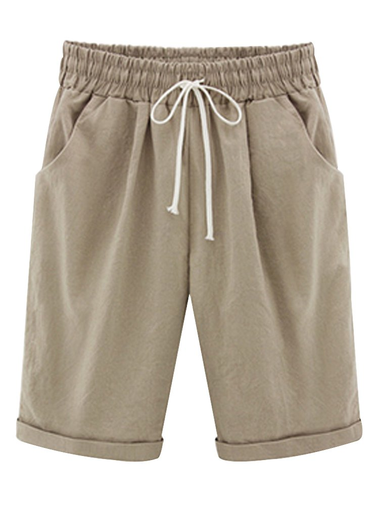 Women's Casual Elastic Waist Knee-Length Bermuda Shorts with Drawstring Khaki US 16 - Tag 6XL