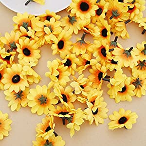 IETONE 100 Pieces Artificial Gerbera Daisy Flowers Heads for DIY Wreath Gift Box Scrapbooking Craft Wedding Party (Yellow Sunflower) 4