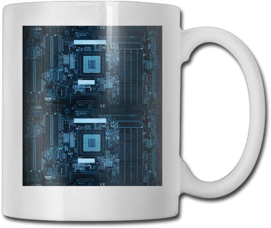 Tazas de té, Computadora Placa madre interna Taza de café Taza de cerámica perfecta delicada grande para la oficina Regalo del día de la madre Tercera edad 11 Ounces