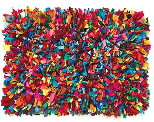 HF by LT Cotton Fiesta Shag Rug, 4' x 6', Multi-Colored (Rag Shag)