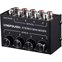Blesiya Mini Stereos Mixer - 4 Channel Compatible DJ Controller Sound Mixer, Mic-Talkover, USB Reader, RCA Phono/Line in…