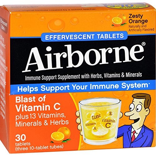 Airborne Effervescent Tablets Vitamn C - Zesty Orange - 10 Tablets - 3 Pack - No Gluten - A unique combination of 14 vitamins, minerals, and herbs
