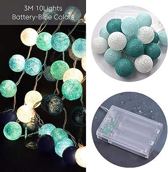 Teabelle luces Decoración de la habitación LED Guirnalda Guirlande Fairy LED Luces de bolas de algodón DIA 6 CM Bola de algodón Bola Luces LED Regalos de cumpleaños Decoración de la fiesta: