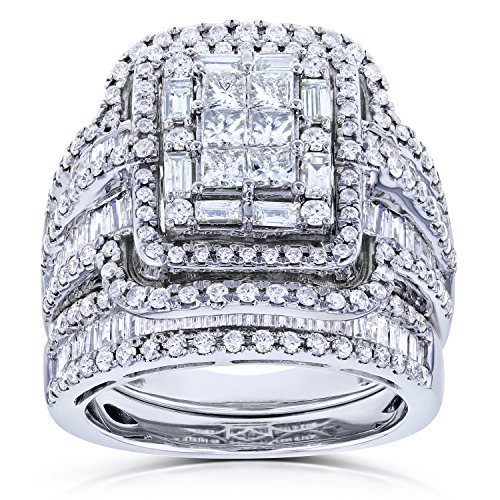Multi Diamond Rectangular Frame Bridal Rings Set 2 1/2 CTW in 14k White Gold, Size 11, White Gold - Rectangular Diamond Set