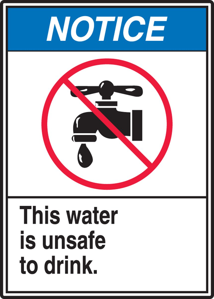 Red//Blue//Black on White 10 Length x 7 Width Accuform MRAW800VA Aluminum Sign LegendNOTICE THIS WATER IS UNSAFE TO DRINK