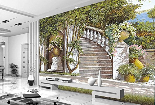 Yosot Luxus Custom 3D Fototapete Mediterran Schlafzimmer Wohnzimmer Garten 3D Wandbild Tapeten-300Cmx210Cm
