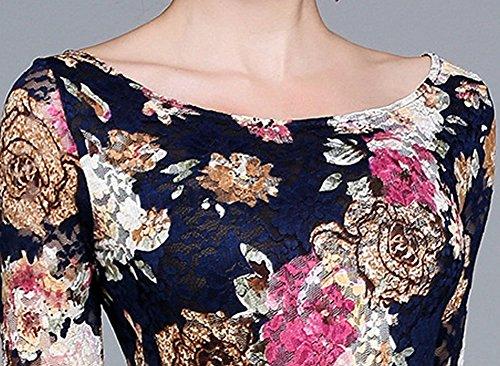 DISSA Blau Kleider Partykleid Hohl Blumen Cocktailkleid YL98609 Damen Langarm Midi Kleid Spitze Cocktail r1qr4S