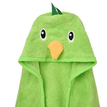 toalla de baño para niños Capa de Albornoz 100% Coral Terciopelo con Capucha Chico Chica Toalla de Playa Cabeza con Capucha Toalla Pájaro Verde 0-9 años: ...