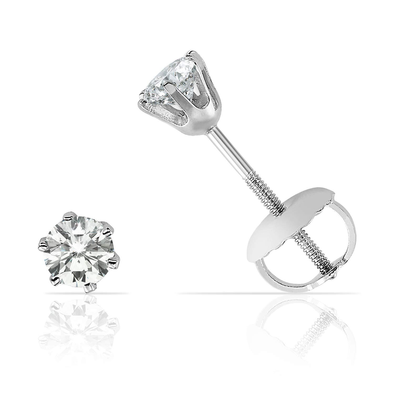 116b7ae884b Elegant Six Prong Diamond Screw Back Stud Earrings in Solid 14K White Gold  (J-K Color