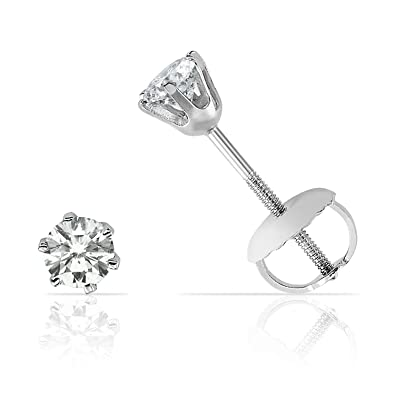 Elegant Six Prong Diamond Screw Back Stud Earrings in Solid 14K White Gold  (JK Color, I2-I3 Clarity) 0 2 carats