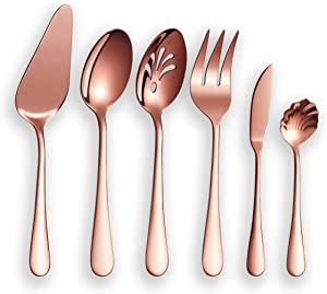 Berglander Stainless Steel Rose Gold Titanium Plated Flatware Serving Set 6 Pieces, 5 Serving Pieces of 45 Pieces Flatware With 1 Cake Server, Copper Serving Silverware Set (Shiny Rose Gold)