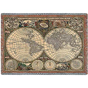 Amazoncom Pure Country Weavers Old World Map Blanket Tapestry - World map blanket