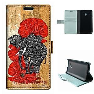 IDOL 3 4.7 Case, SoloShow® New Alcatel IDOL 3 4.7 inch Case Original Tribal Aztec elephants Rainforest floral pattern Luxury Wallet PU Leather Case Flip Cover Built-in Card Slots (Elephant)
