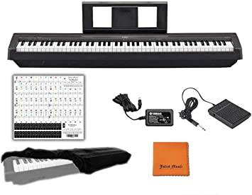 Yamaha P45B teclado digital de piano con 88 teclas con peso, con funda para piano Juliet, paño de pulido y pegatina para llave de piano (P45B)