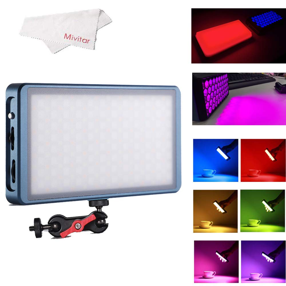Mivitar Falconeyes F7 RGB LED Mini Pocket On Camera Light 2500K-9000K Bi Color with Magnet Adsorption Function and Honeycomb Frame for Video/Photo/Product Photography