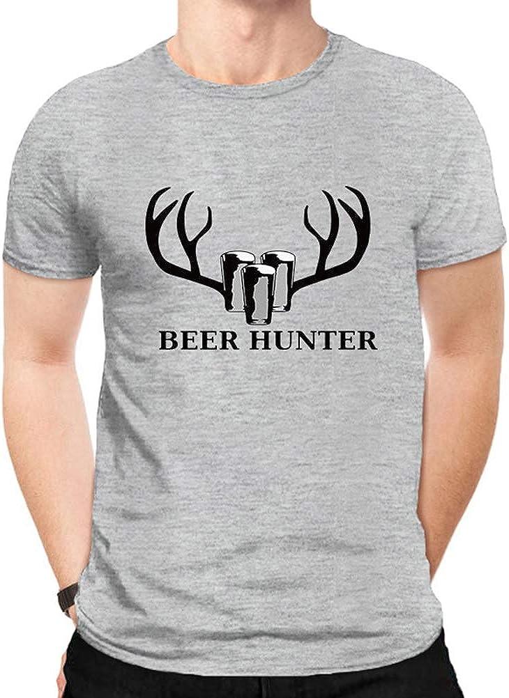 YUFAA Cazador de Cerveza Impreso Hombres Manga Corta Cuello Redondo al Aire Libre Divertido Ciervos Caza Camiseta Camisa de Entrenamiento (Color : Gris, Size : L): Amazon.es: Ropa y accesorios